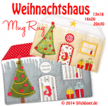 Christmas House Mug Rug Set of 2 sizes 5x7 + 6x10