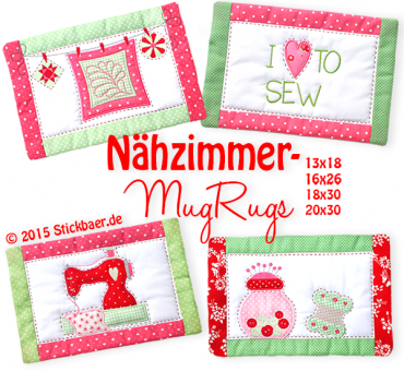 Sewing Room Mug Rugs ITH
