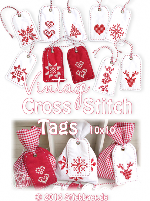 Vintage Cross Stitch Tags