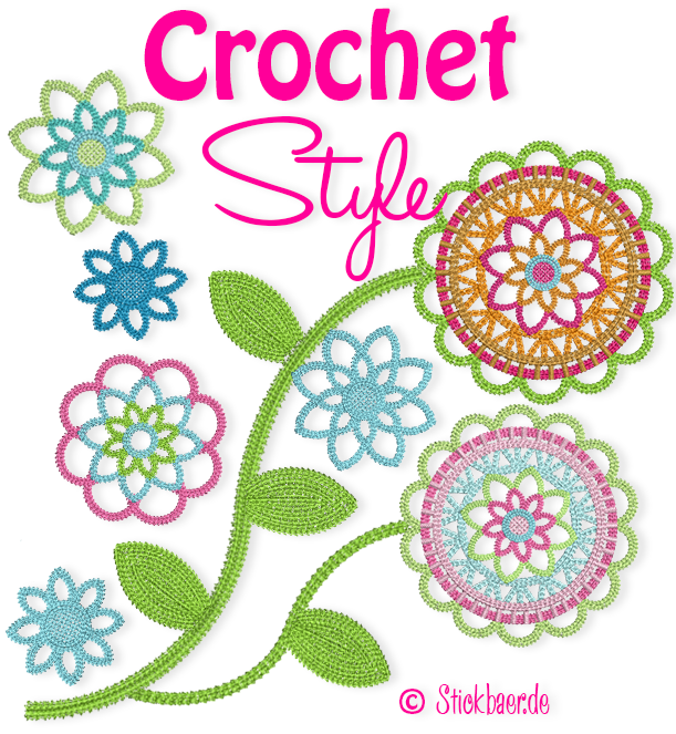 Crochet Stitch Overview : Der Stickbaer Crochet Style Embroidery from heart