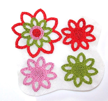 Crochetflowers auf vlies