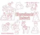 Elves Christmas Redwork