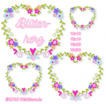 Heart and Flowers all 4 hoop sizes