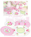 Rose Mug Rugs Set 4 13x18+16x26+20x30