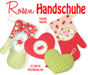 "Rose Oven Gloves 6x10"" + 7x12"""