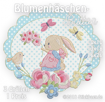 Flower Bunny Button