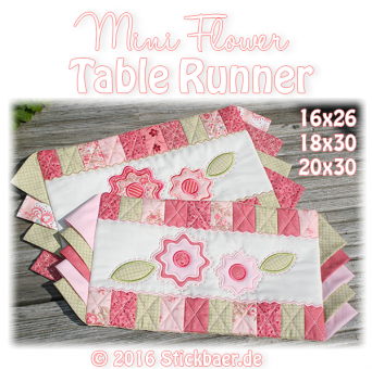 Mini Flower Table Runner 16x26+18x30+20x30