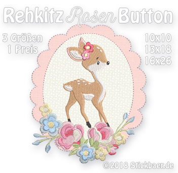 Rehkitz-Rosen-Button