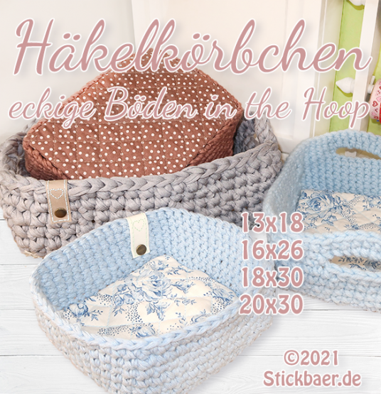 Crochet Basket rectangular Base all 4 sizes