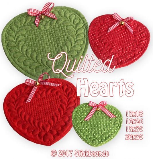 Quilted Heart ITH 16x26
