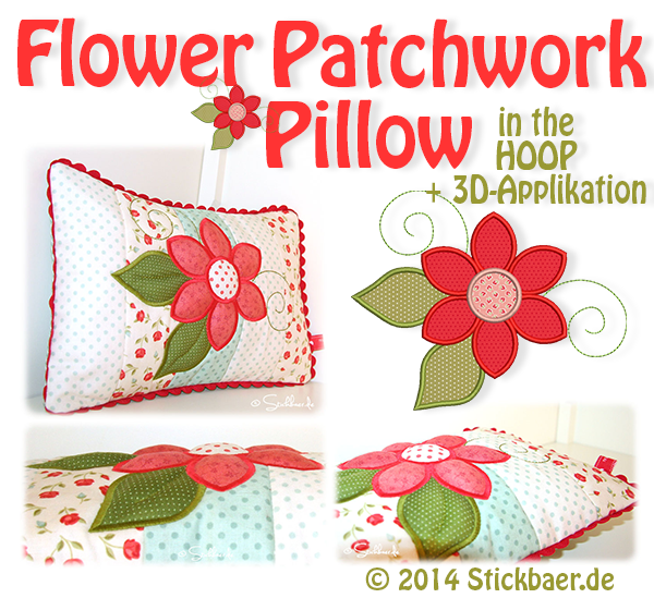 Flower Patchwork Pillow 16x26
