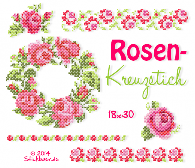 Rose Cross Stitch 7x12