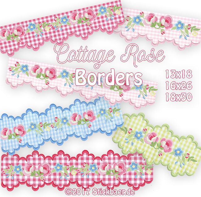 Cottage Rose Borders 13x18+16x26