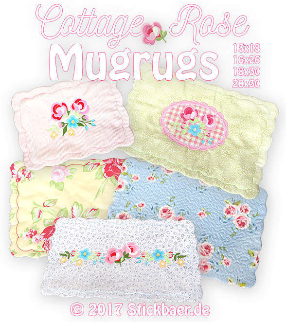 Cottage Rose Mugrugs 13x18+16x26