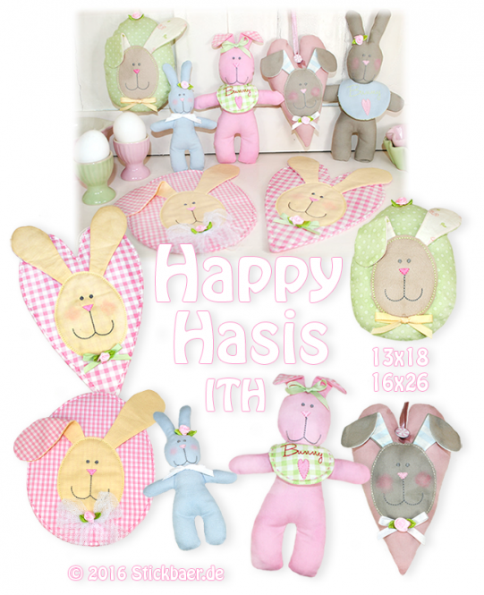 Happy Bunnies ITH 13x18 + 16x26