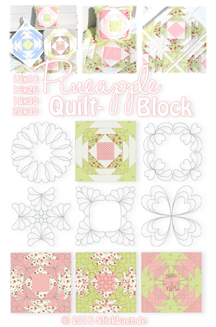 Pineapple Quilt Block 13x18 + 16x26 + 18x30