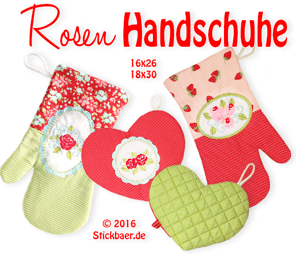 Rose Oven Gloves 18x30 - 7x12""