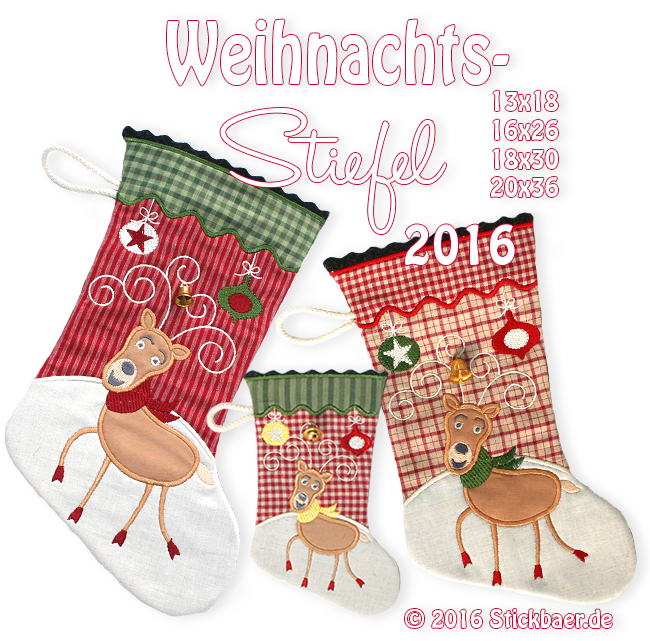 Christmas Stockings 2016 Set of 3 sizes 5x7 + 6x10 + 7x12""