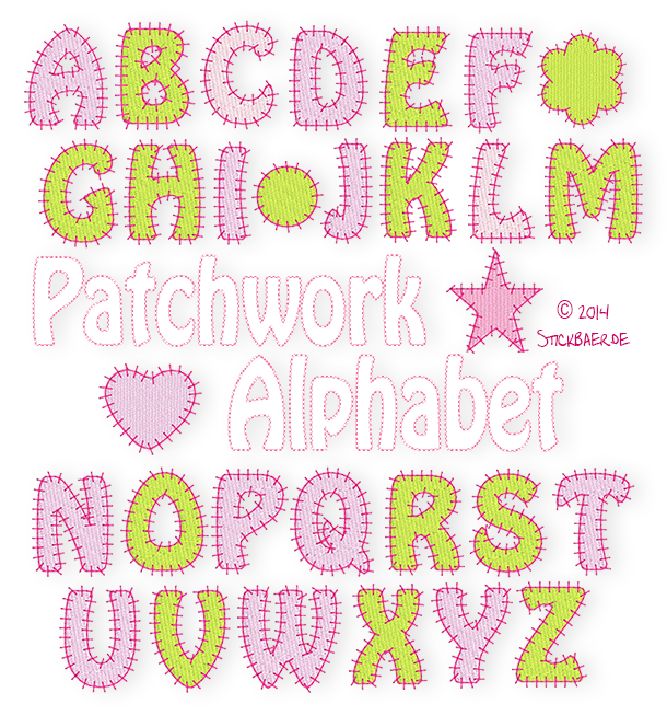 Der Stickbaer Patchwork Alphabet Embroidery From Heart