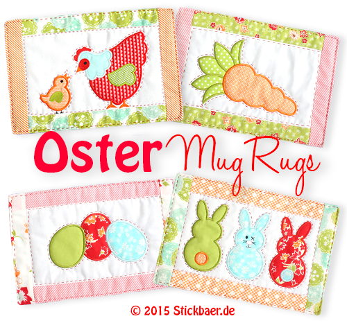 Der Stickbaer Easter Mug Rugs Ith Embroidery From Heart